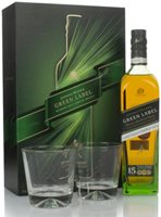 Johnnie Walker Green Label 15 Year Old Gift Pack with 2x Glasses Blended Malt Whisky