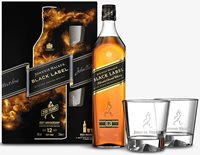 Black Label whisky with glasses 700ml