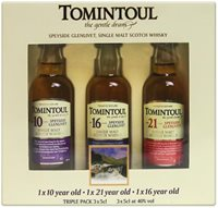 3 X Mini Tomintoul Collection Of Whiskies Tas...
