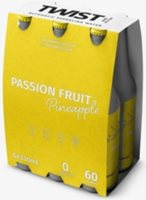Twist passion fruit and pineapple hard seltzer 6x300ml