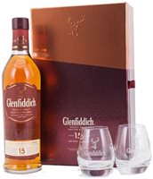 Glenfiddich 15 years old Scotch Whisky Gift pack with Glasses (70cl)